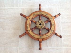 SOLD - Ships Wheel, Timber and Brass 50cm (Sold)
